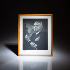 """Signed photograph of Admiral William F. """"Bull"""" Halsey, inscribed to Dr. George T. Pack, his personal doctor and a world-renowned oncologist. Photography by Yousuf Karsh in 1947, with photographer's signature in lower left corner."""