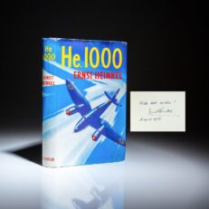 First English edition of He 1000, the memoirs of German aircraft designer Ernst Heinkel, inscribed to a fellow aviation pioneer, Igor Sikorsky.