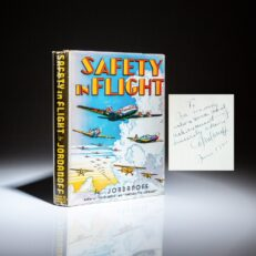 Inscribed by the author to Igor Sikorsky, the first edition of Safety In Flight by Assen Jordanoff.