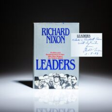 First edition of Leaders by Richard Nixon, inscribed to Ambassador Lester B. Korn.