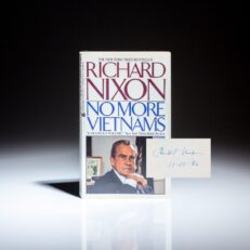 First Paperback Edition of No More Vietnams, signed by President Richard Nixon.
